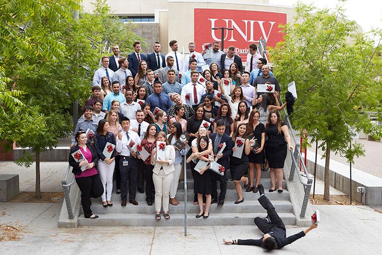 Kirk Kerkorian School of Medicine at UNLV Class of 2021 Stethoscope Celebration group portrait on July 17, 2017.