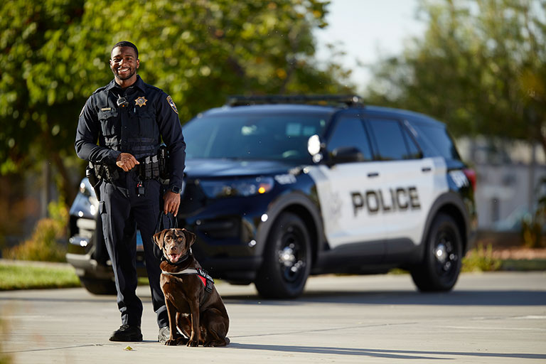 A man standing with a dog in front of a police car.