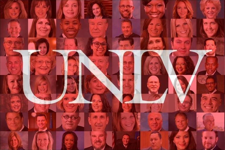 UNLV logo with peoples faces in the background
