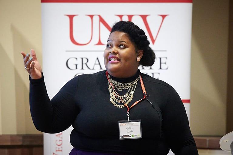Woman giving a presentation.