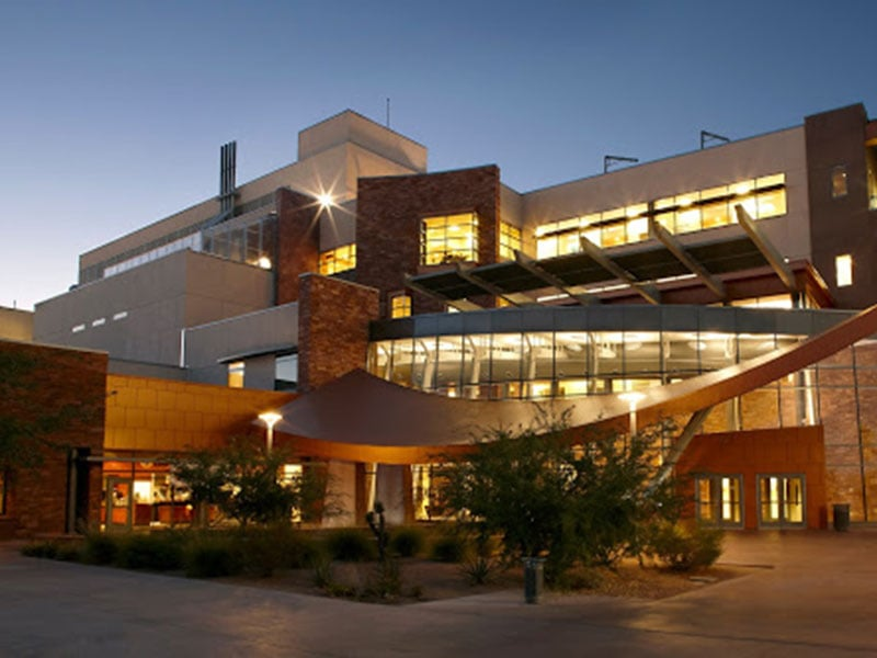A view of the Science and Engineering Building at UNLV in the evening.