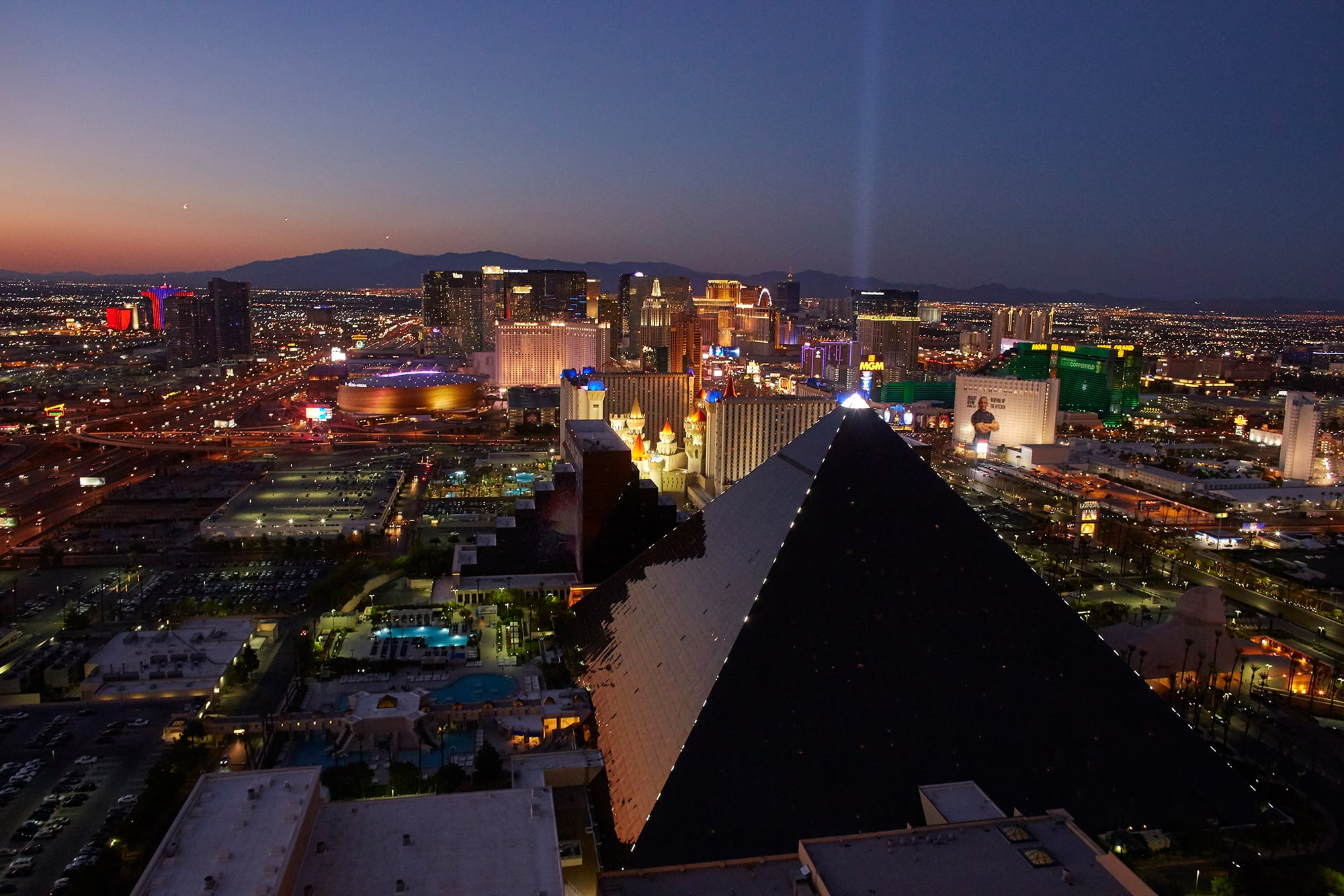 A view from the sky of the Strip at Las Vegas.