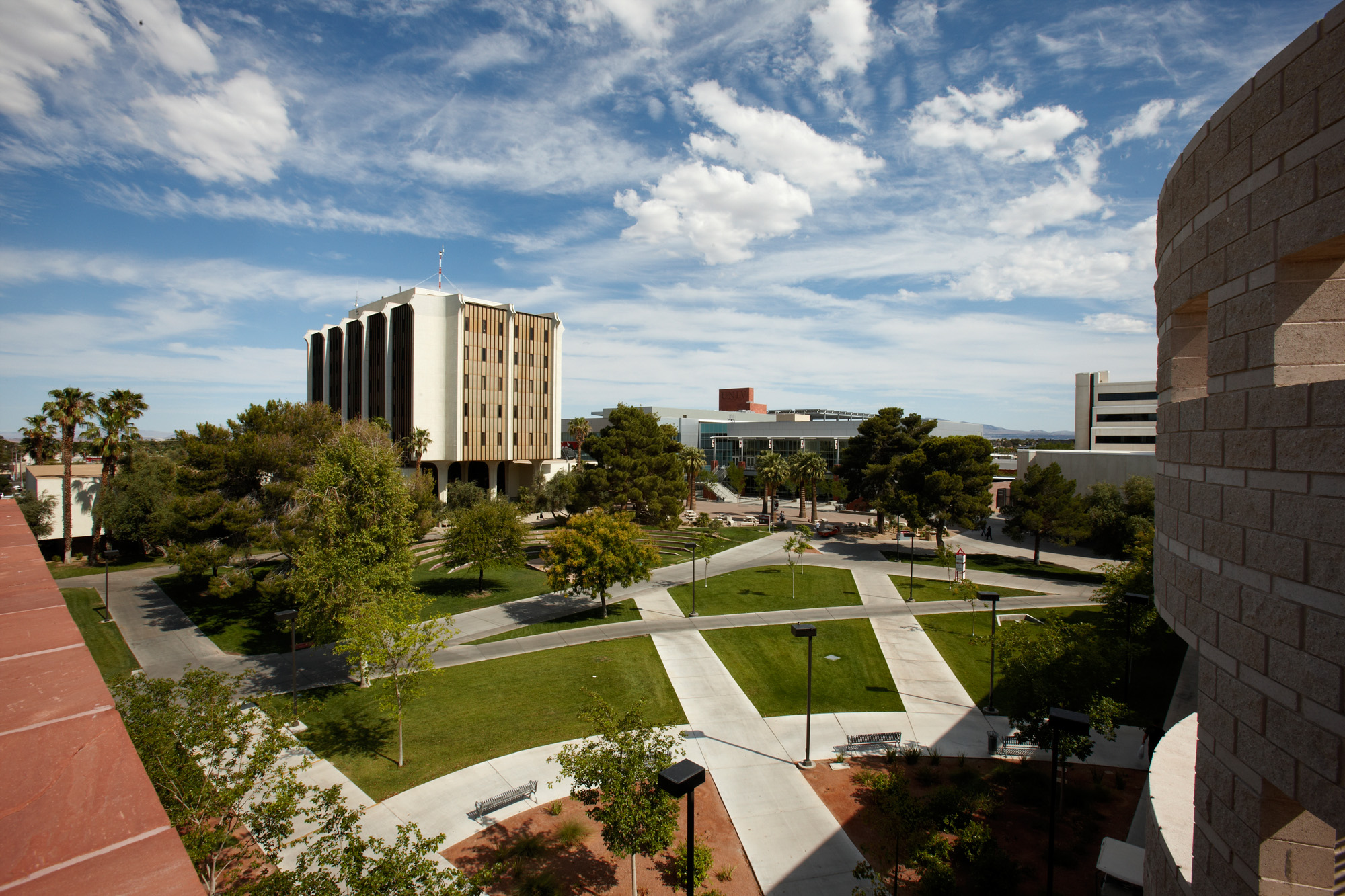 A view of UNLV main campus from Wright Hall overlooking Student Union and FDH.