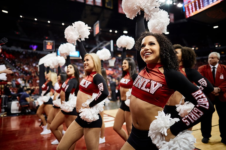U.N.L.V.'s cheer and dance team performing in the Thomas and Mack center during an event.