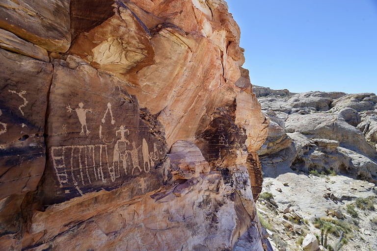 Petroglyphs on the face of a mountain side