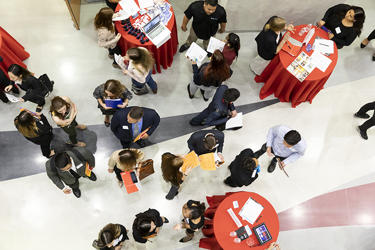 A view of a job fair from overhead.