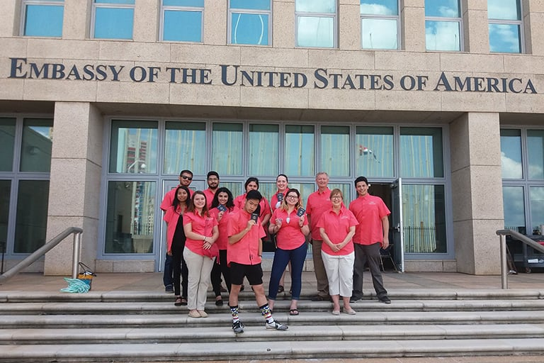 Business Students Outside of the U.S Embassy in Cuba
