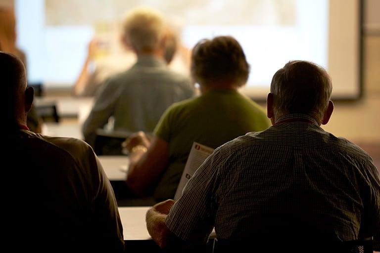 Elders attending a class