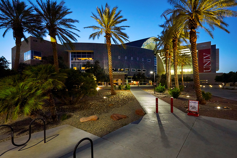 A view of UNLV main campus outside Lied Library.