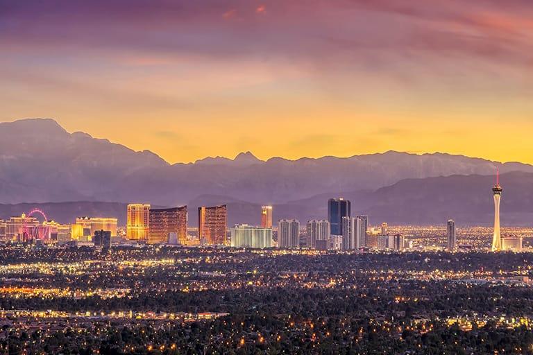 Sunset view of the las Vegas Strip