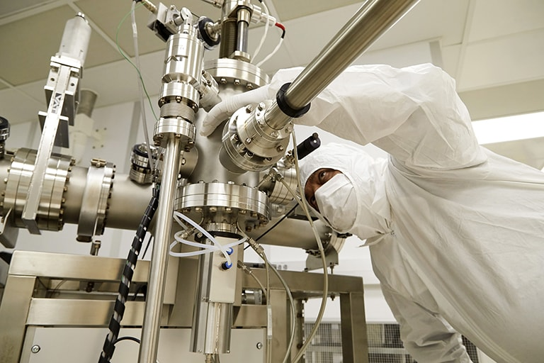 Person working inside of the laboratory