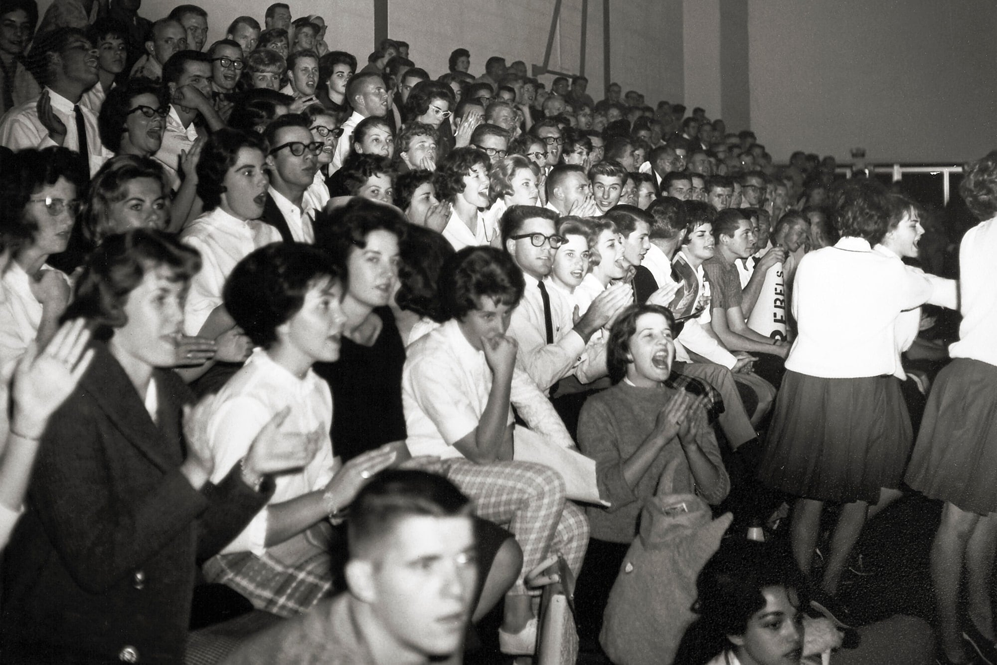 Historical photo of a crowd watching a game