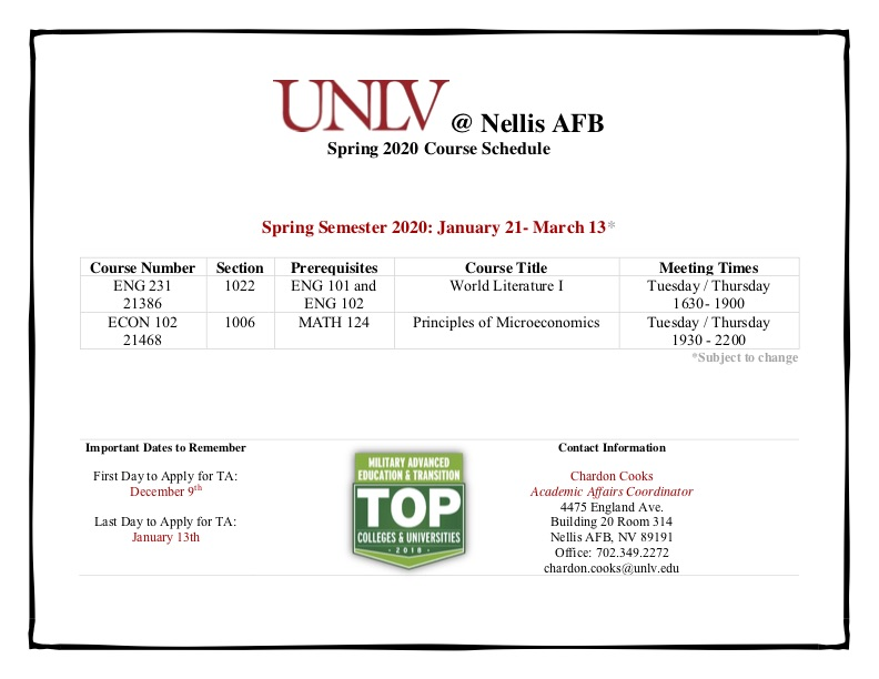 Spring Course offerings at Nellis Flyer
