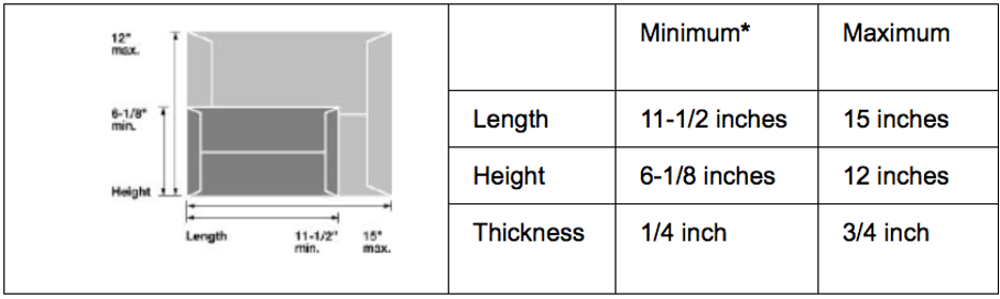 Image depicting flat mail dimensions visually