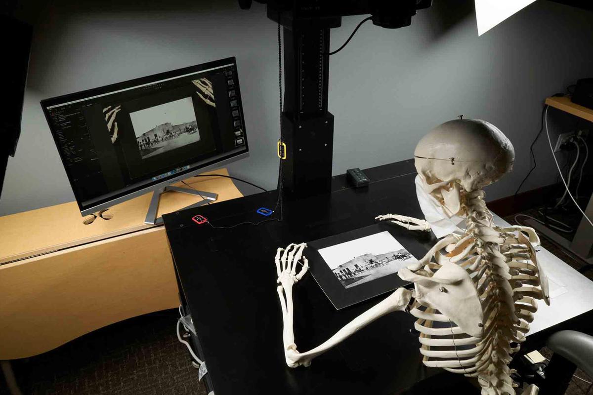 A skeleton works at a digital scanner