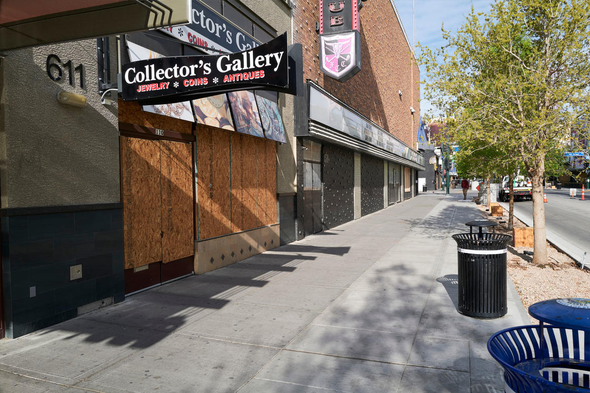 Collector's Gallery on Fremont Street stands boarded up
