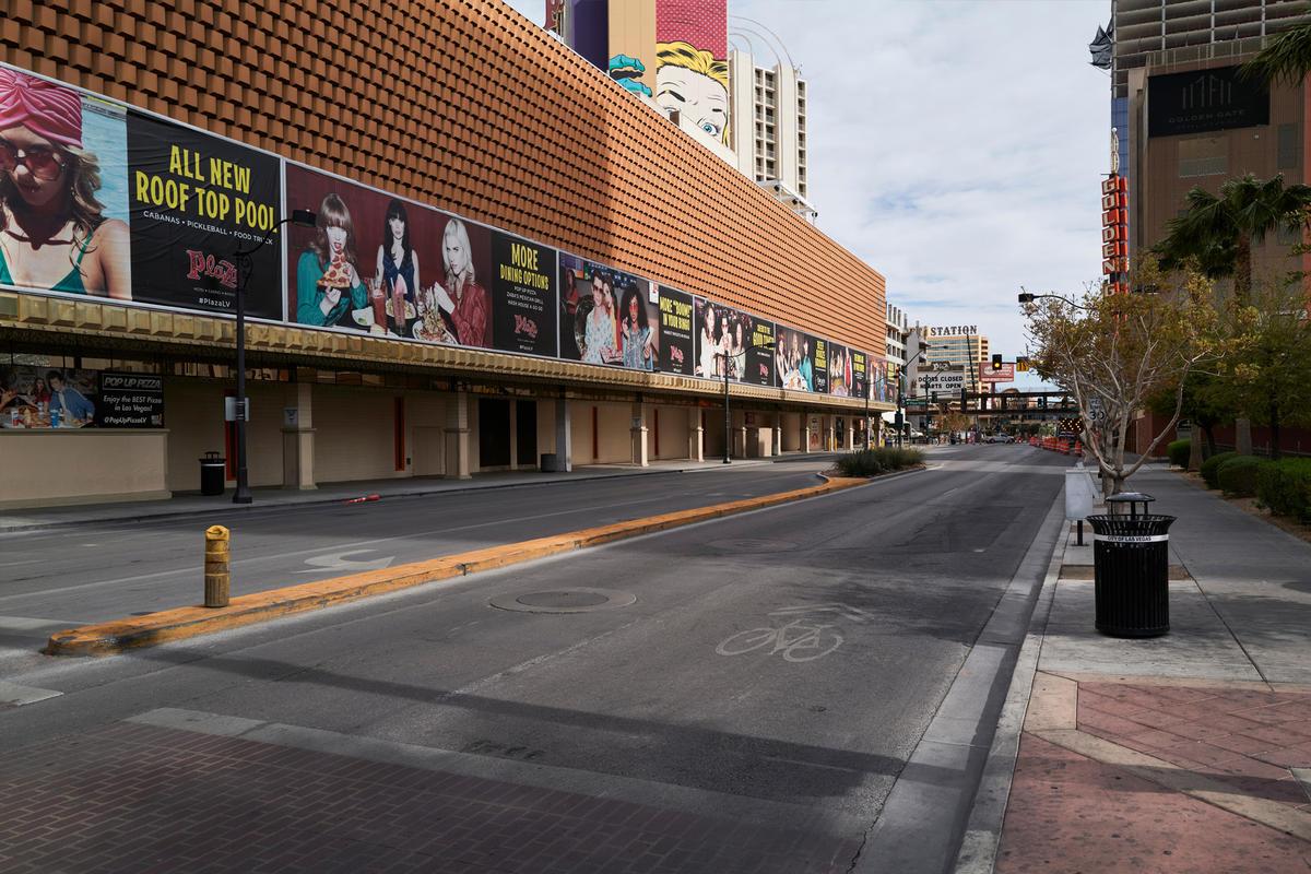 An empty street in Downtown Las Vegas