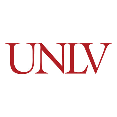 The U.N.L.V. logo with the just the word U.N.L.V. in crimson red on a plain white background
