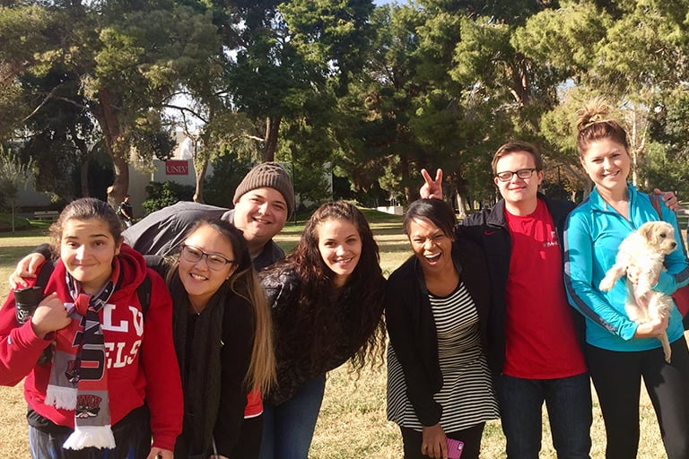 Project FOCUS students and staff/volunteers pose for a photo on UNLV's campus