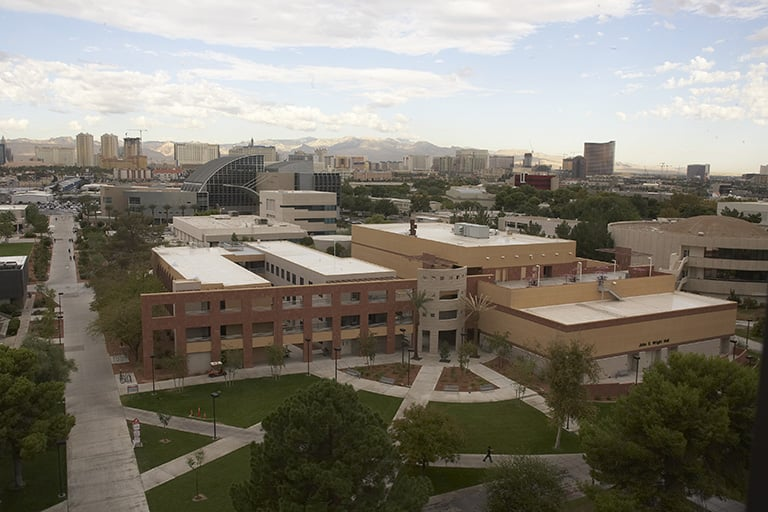 View from campus from aerial view overlooking the John S. Wright Hall