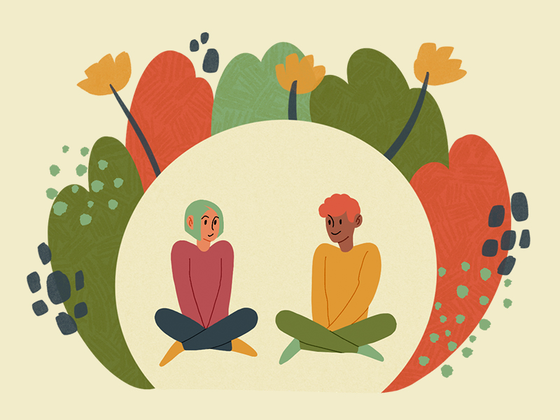 Artwork with two people sitting together on a canvas shaped like a flower.