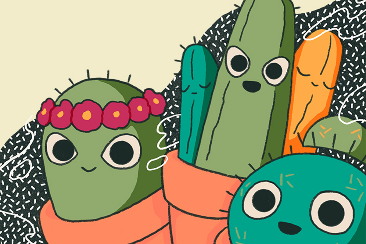 Artwork of the cover of Student's Guide to Radical Healing Volume One. Artwork depicts three cactus with open eyes, smiling.