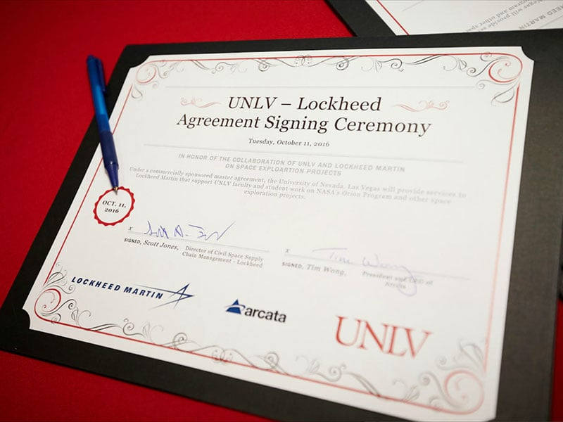 Signed agreement with Lockheed Martin