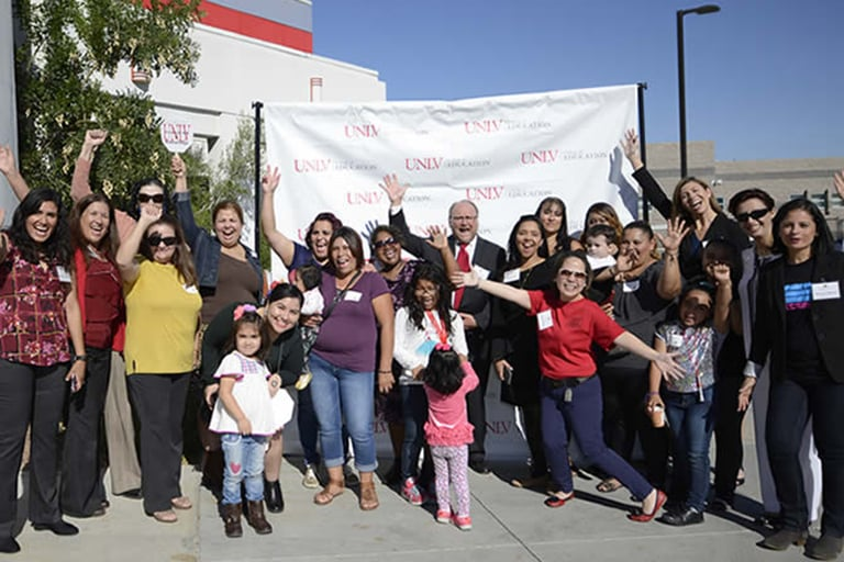 MESA participating faculty, students and parents pose for a photo at the 2017 kickoff event on the UNLV campus