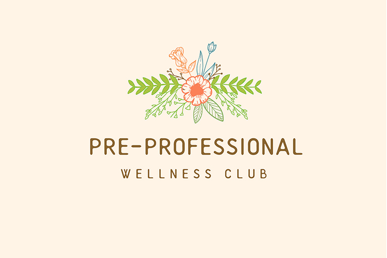 Pre-Professional Wellness Club logo of flowers with green foliage.