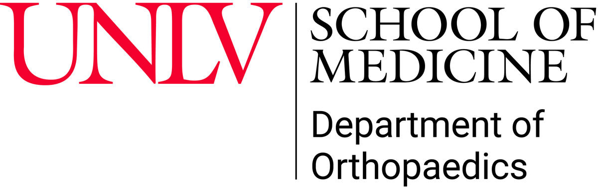 Logo of UNLV and the school of medicine, department of orthopaedics.