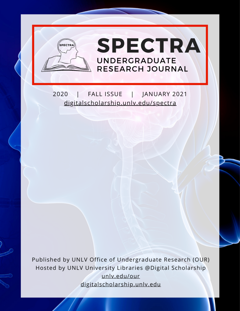 A cover image of the Spectra Undergraduate Research Journal, with the year, issue, and month.