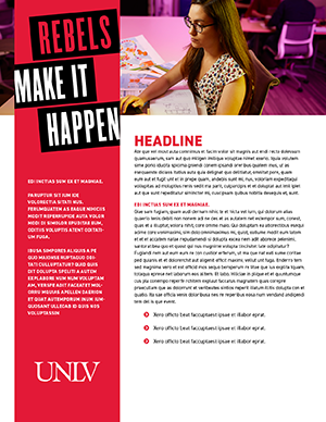 R.M.I.H. Flyer Fact-Sheet with a slogan in top left corner, image in the top, headline, custom text, and bullet points filling up the page. A side bar of custom text is on the left with the university logo in the bottom left corner.