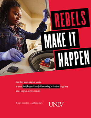 R.M.I.H. Print Ad with giant slogan in the upper right and image on the left. Custom text at the bottom with university logo beneath it.