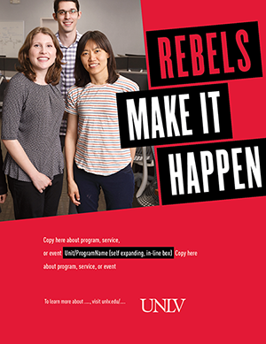 R.M.I.H. Print Ad for different dimensions of prints with Large slogan in the top right corner, image in the top left corner, custom text in the center and university logo bottom.