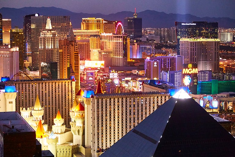 The Strip, Las Vegas Boulevard, MGM, Excalibur, Hotels, Casinos, Neon Luxor, from Skyfall at Mandalay Bay