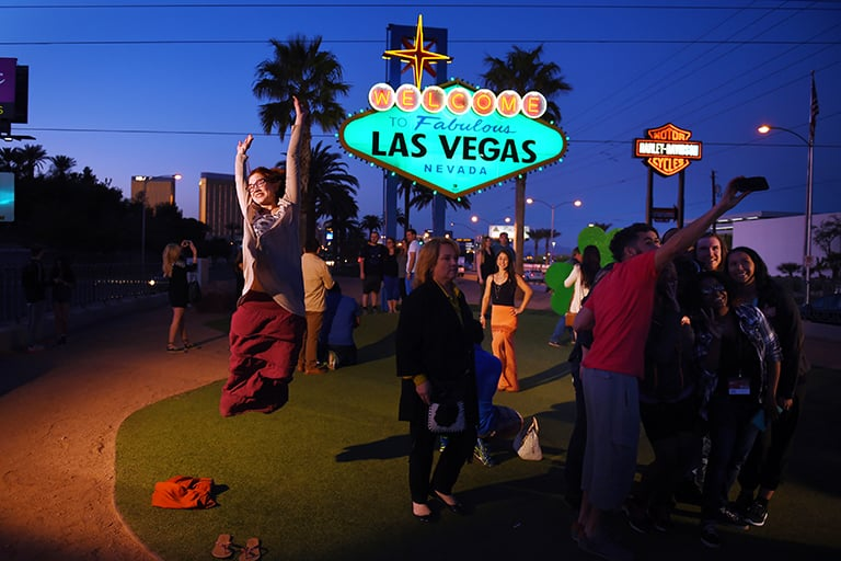 A scene of the Welcome to Las Vegas sign along Las Vegas Boulevard.