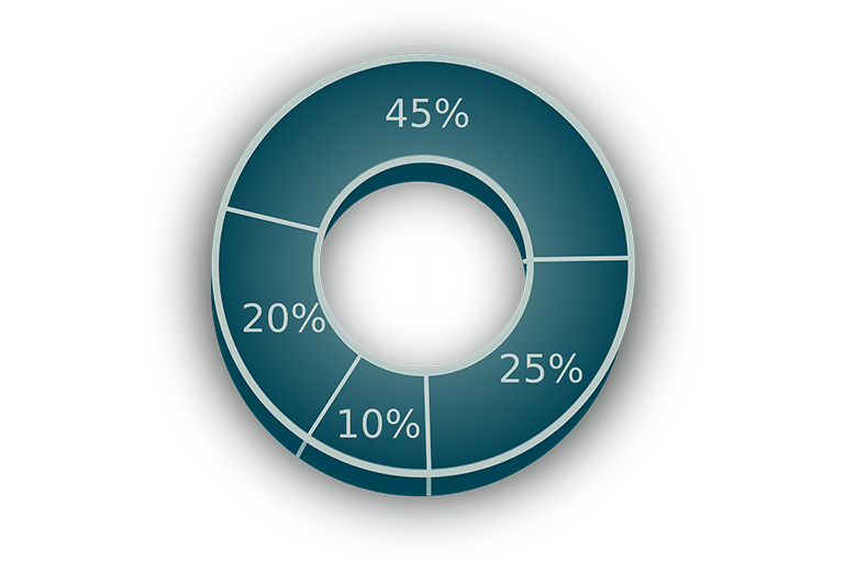 A pie chart with various percentages listed.