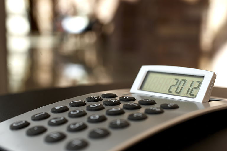 Close up of calculator on desk