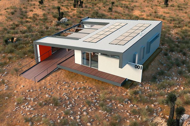 Aerial rendering view of the solar decathlon sustainable home.