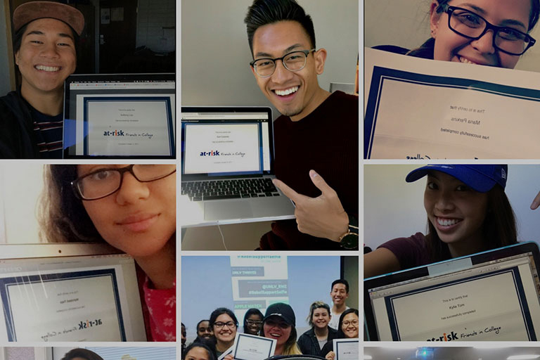 Collage of students showing off a kognito digital certification.