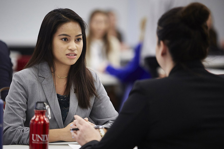 Student at a mock interview