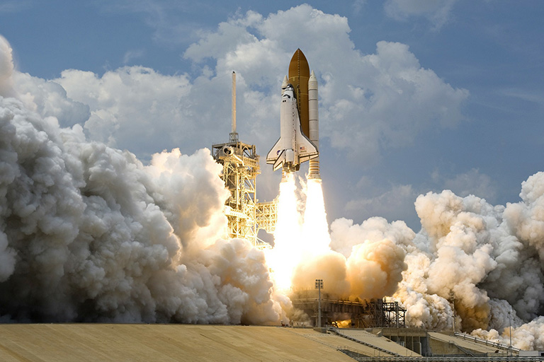 Rocket taking off from platform
