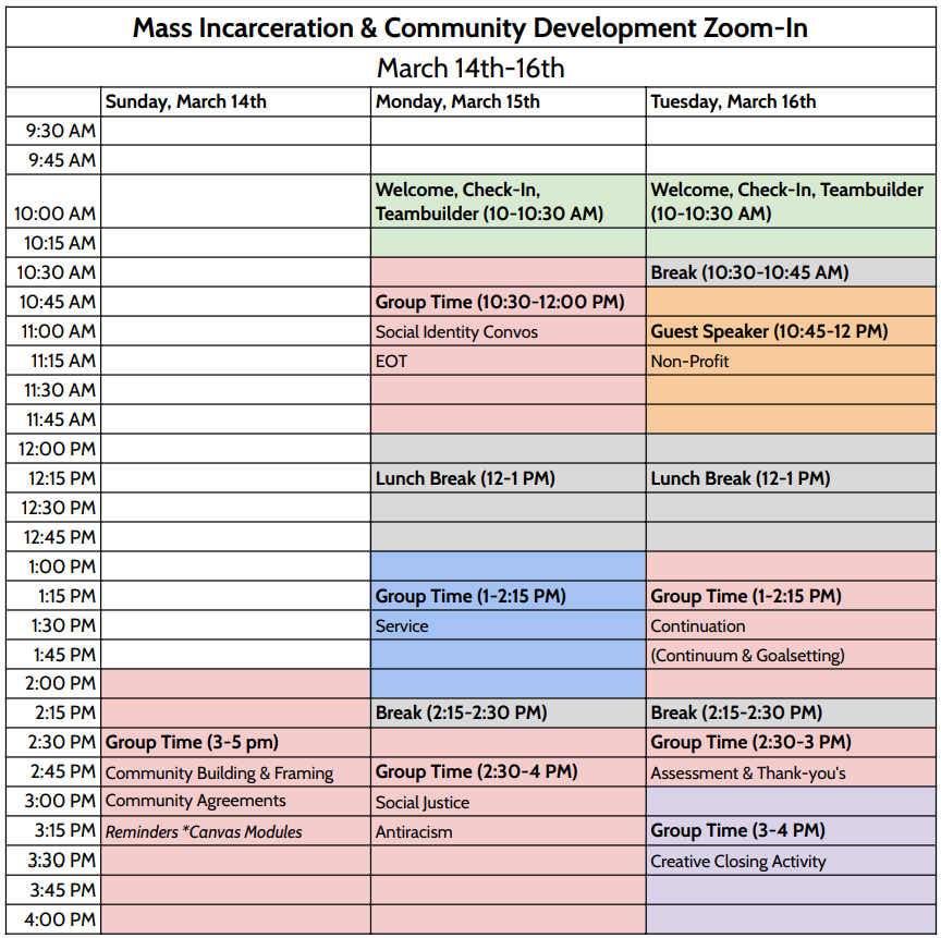 A sample schedule of a Zoom-In schedule