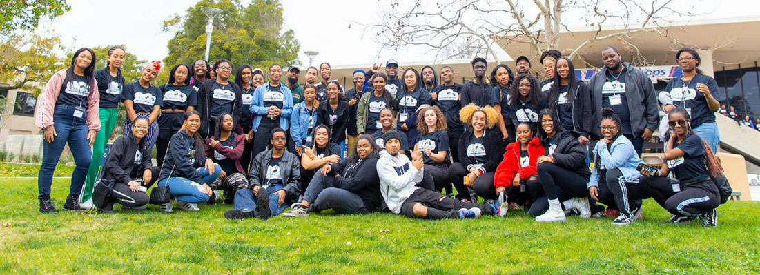 Students of the Black / African American Program posing for a photo together.