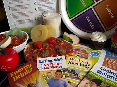 Brochures on eating well and healthy.