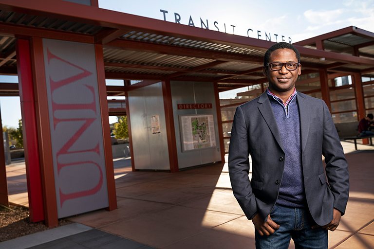 Man standing in front of UNLV Transit Center