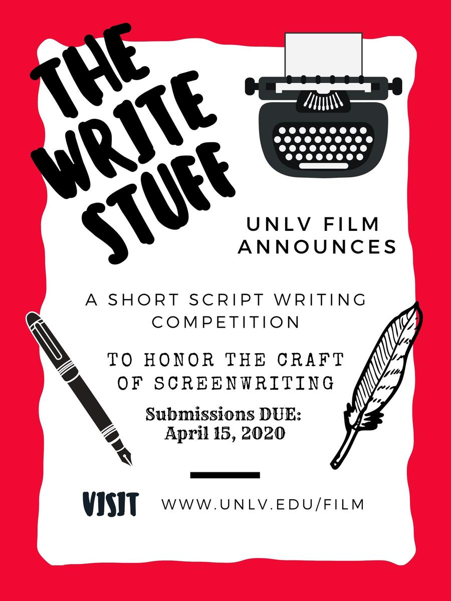 A poster describing the details of the UNLV FILM Short Script Competition