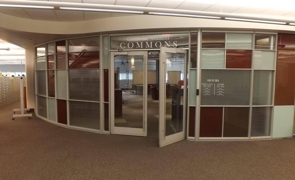 Photo of the entrance to the Graduate Student Commons