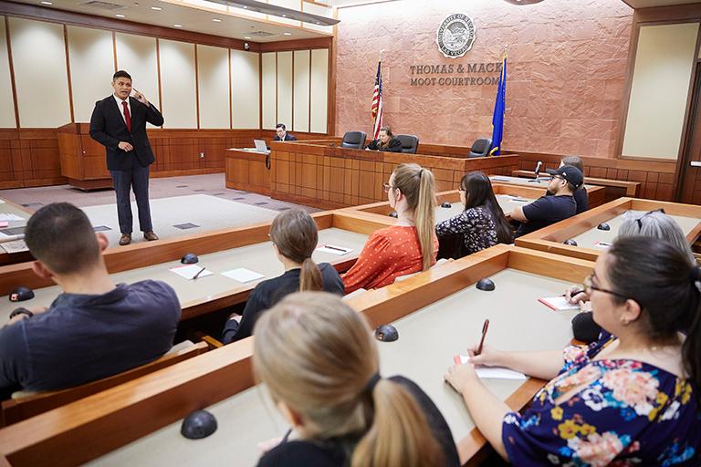 A mock trial taking palce