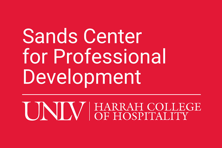 "Logo that reads ""Sands Center for Professional Development. UNLV, Harrah College of Hospitality"""